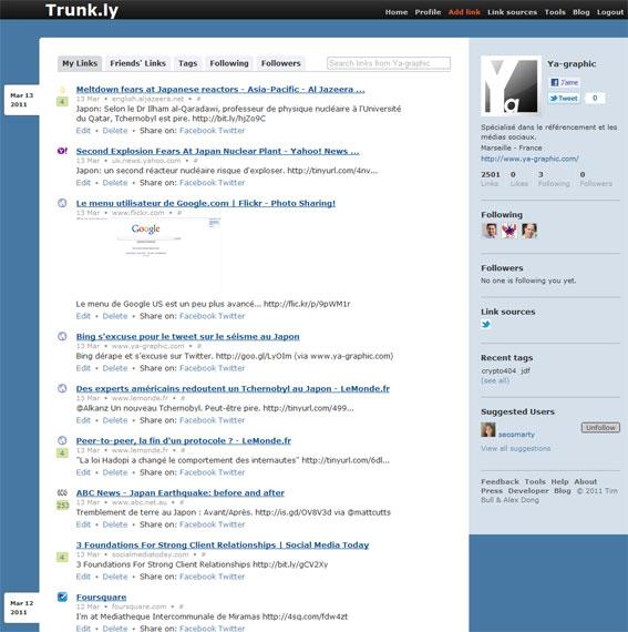 Partager ses liens sur Trunk.ly