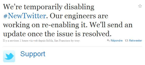 Problème sur Twitter 6 avril 2011
