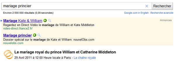 Mariage princier recherché sur Google.fr