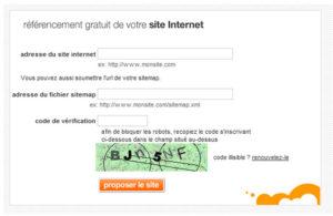 Moteur d'Orange : soumettre la sitemap pour le référencement de son site.