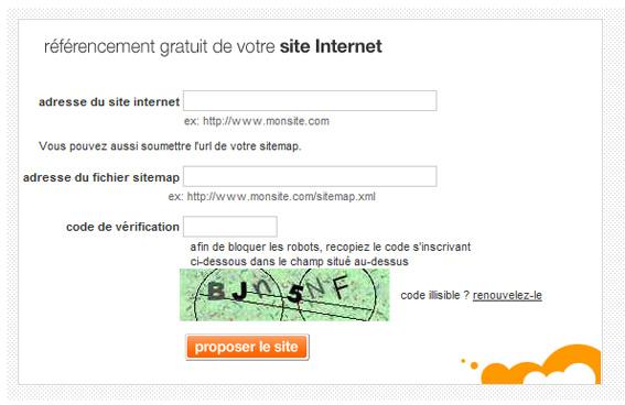 Soumettre le sitemap XML au moteur de recherche Orange