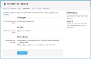 Notifications de Twitter dans les Préférences de son compte