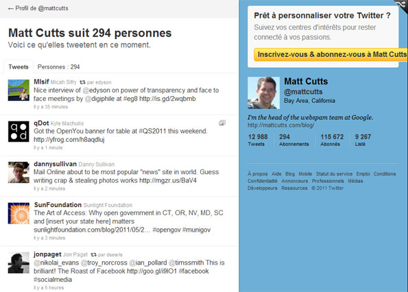 Twitter : la timeline de Matt Cutts