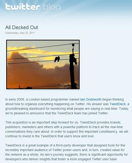 Officiel : Twitter annonce le rachat de TweetDeck