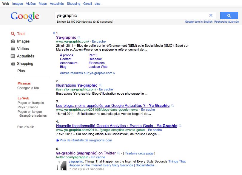 Nouvelle présentation des résultats de recherche de Google, juin 2011