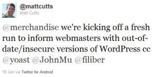 Matt Cutts annonce les messages de mise à jour WordPress dans Google Webmaster tools