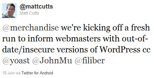 Le tweet de Matt Cutts