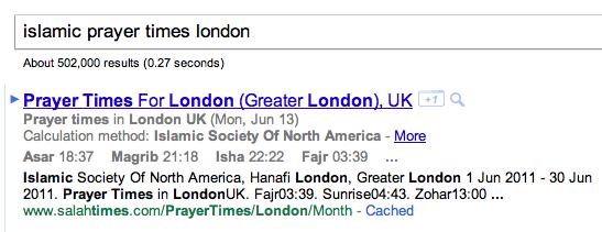 Rich snippets: horaires de prières islamiques dans la SERP de Google
