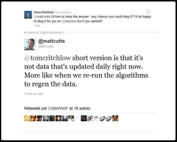 Le fameux tweet de Matt Cutts