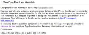 Message de Google Outils pour les webmasters