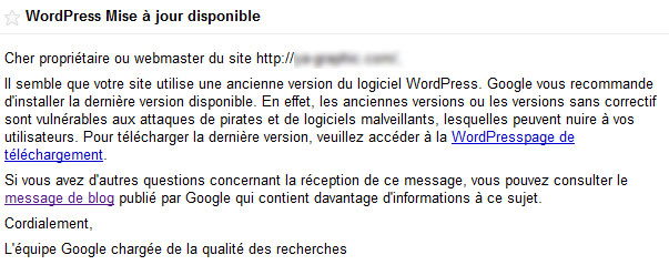 Google incite les webmestres à mettre à jour WordPress