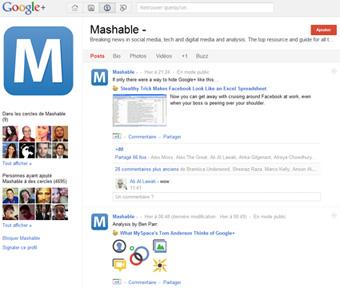 Compte Mashable sur le réseau social Google+
