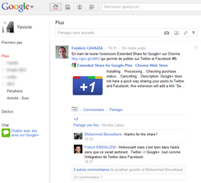 Interface du projet Google+