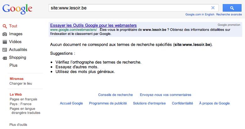 Désindexation du site LeSoir.be des résultats de recherche de Google