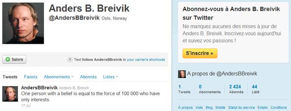 Anders Behring Breivik sur Twitter
