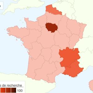 Carte de France, Google Tendances des recherches