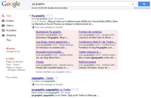 Mégas sitelinks de Google