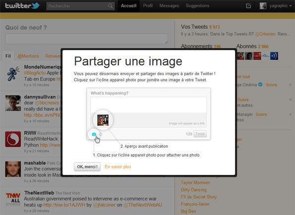 Twitter signale la nouvelle fonctionnalité de partage de photos