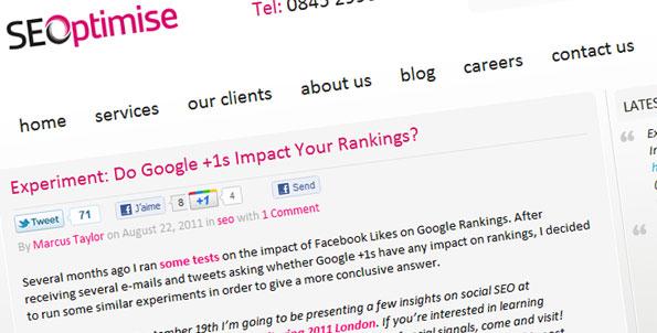 Test: L'impact du bouton +1 de Google sur le ranking de votre site