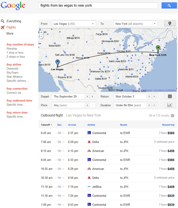 Google Flight Search, le comparateur de vols de Google