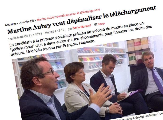 Martine Aubry et des conseillers spécialisés dans le numérique