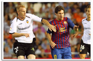 Match Valence contre le FC Barcelone. Mathieu contre Messi