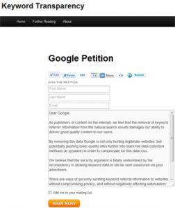 Pétition contre Google et la transparence des mots-clés