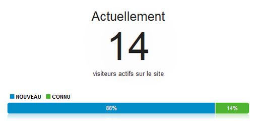 Google Analytics en temps réel: visiteurs actifs sur le site