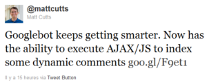 Matt Cutts: Googlebot keeps getting smarter. Now has the ability to execute AJAX/JS to index some dynamic comments