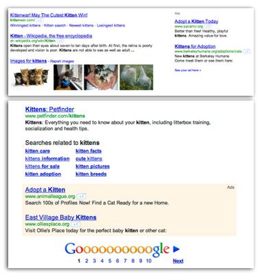Google AdWords: Nouveaux emplacements d'annonces dans les résultats de recherche