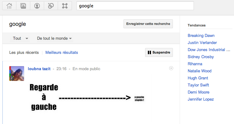 Comme Twitter le réseau social de Google diffuse les tendances