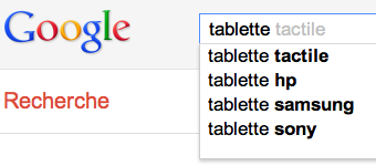 Suggestions de Google pour les tablettes tactiles