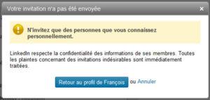 LinkedIn: Invitation rejetée