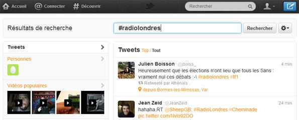 Le hashtag #RadioLondres sur Twitter