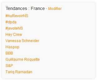 #aurevoirNS le hashtag au top des tendances de Twitter