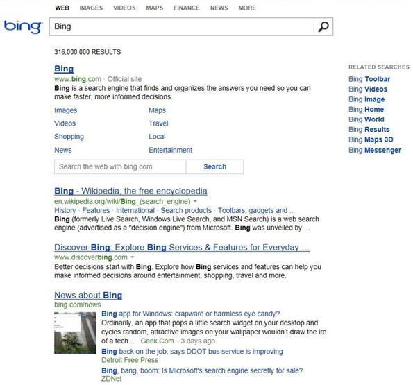 Le nouveau design de Bing