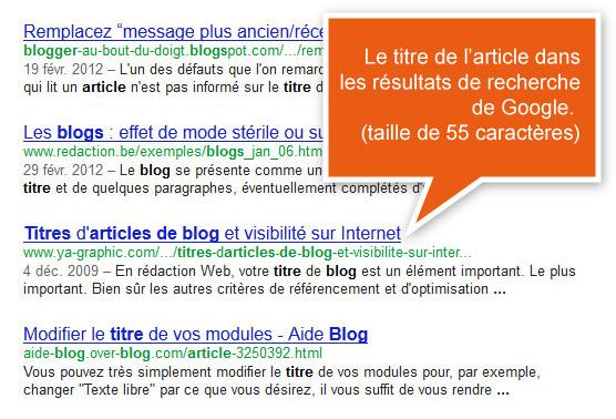 Le titre de l'article apparaît dans les résultats de recherche de Google.