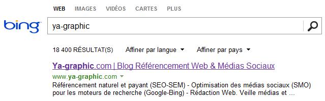 Résultats de recherche de Bing