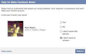 Enquête de Facebook pour connaître le vrai nom des utilisateurs.