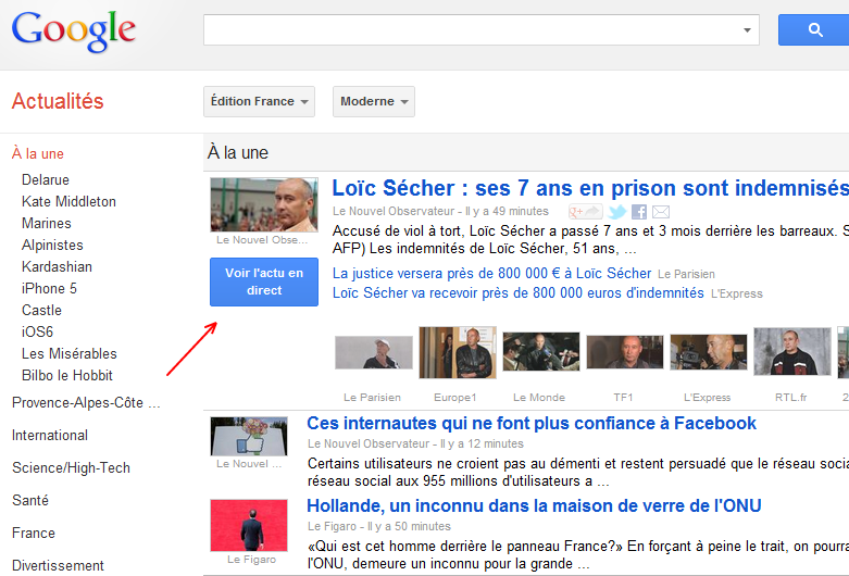 Google News: le bouton bleu « Voir l'actu en direct »