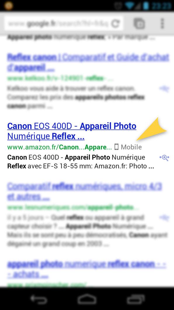 Avenir du SEO: Amazon.fr optimisé pour les mobiles.