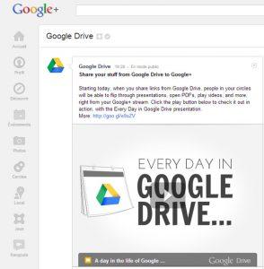 Partager des documents de Google Drive à Google+.