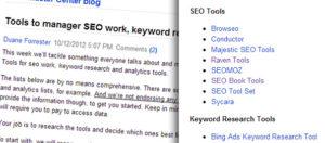 Listes d'outils SEO gratuits et/ou payants proposés par Bing.