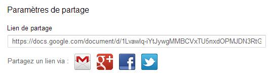 Partage d'un document texte depuis Google Drive