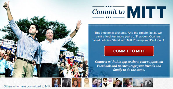 Application Facebook Mitt Romney
