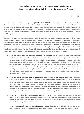 Google France contre la loi proposée par les associations d'éditeurs de presse.