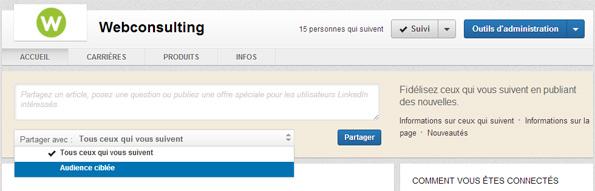 Nouvelle page entreprise LinkedIn