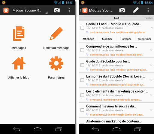 Application Android Blogger