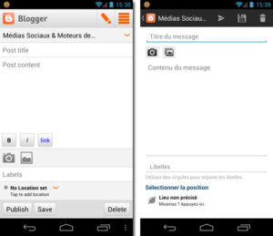 Application Blogger Android