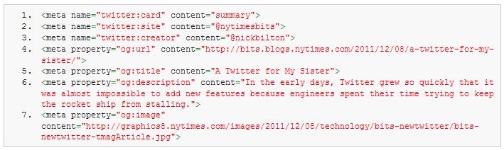 Balises Twitter et Open Graph dans le code source des pages HTML.
